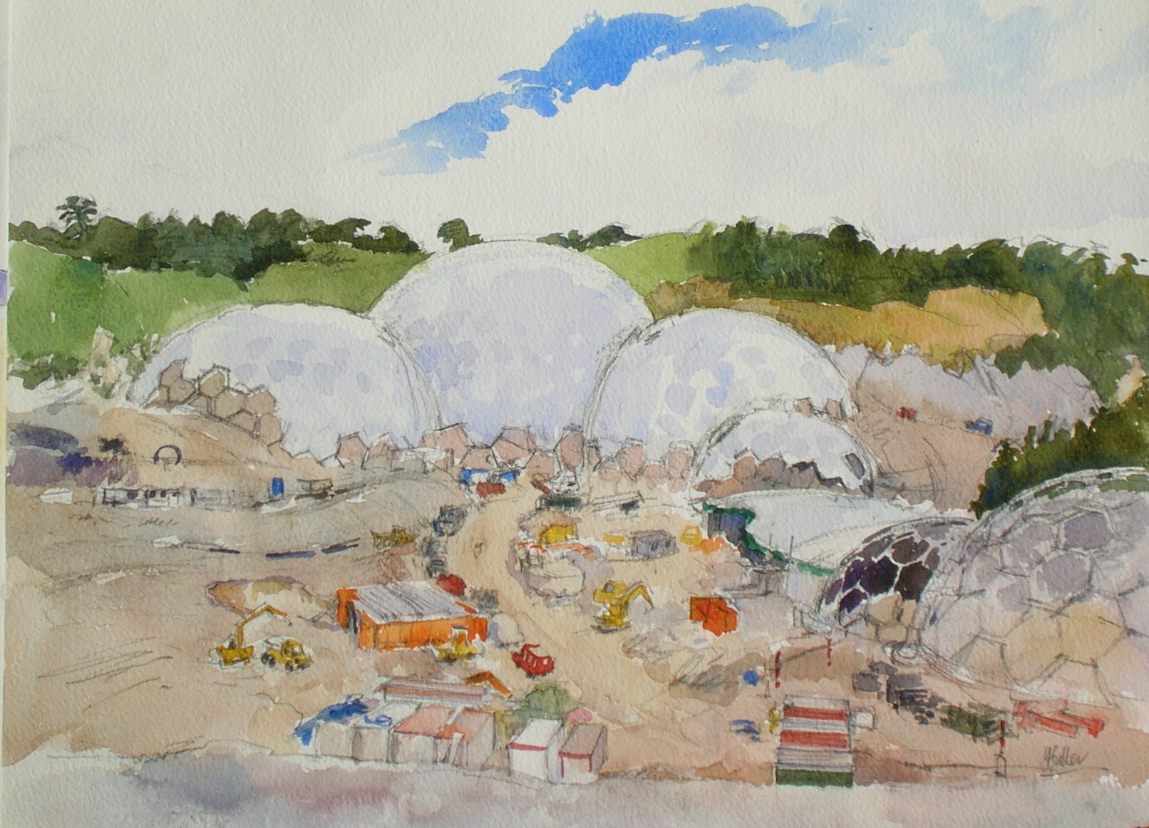 The Eden Project under construction