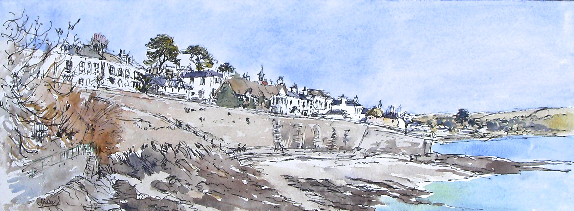 St Mawes Cottages above the great sea wall