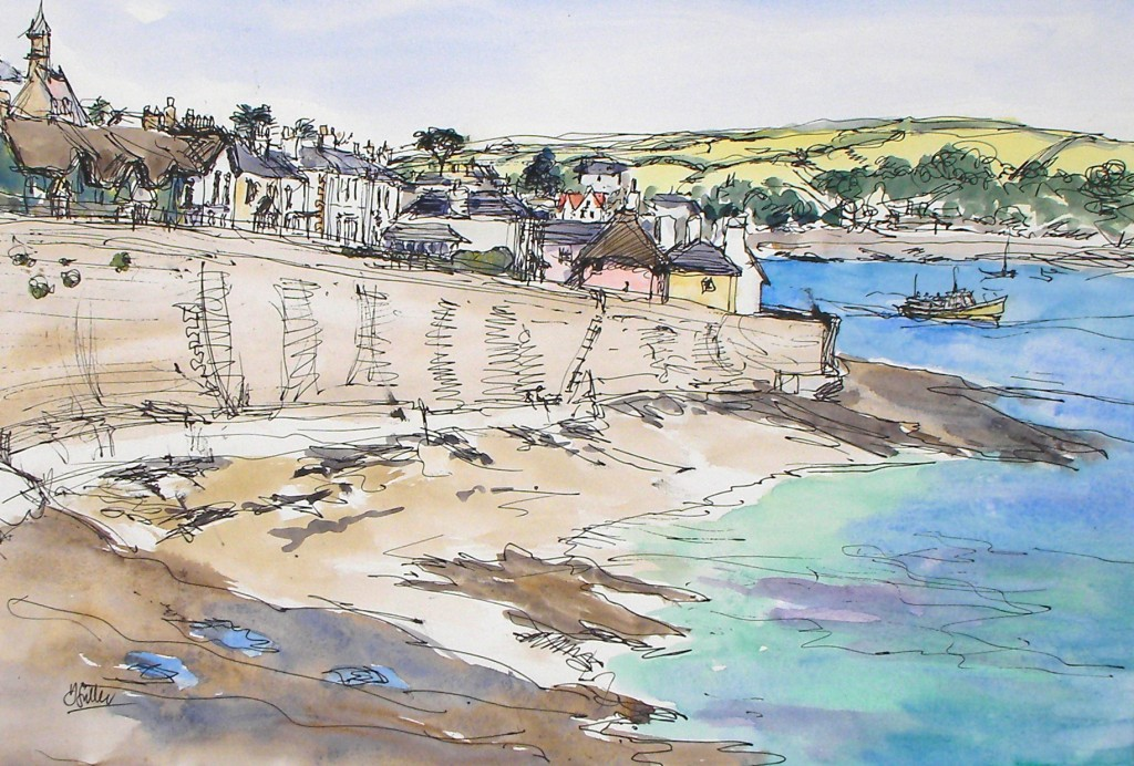Overlooking St Mawes - pen and wash