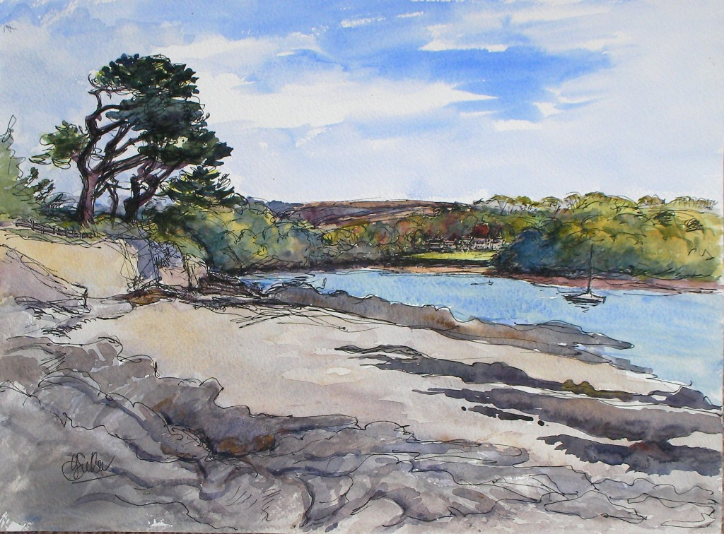 "Place from Polvarth Point St Mawes pen and wash 11"" x 15"""