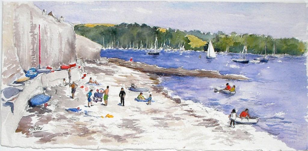 "Tavern Beach, August water colour 12"" x 22"""