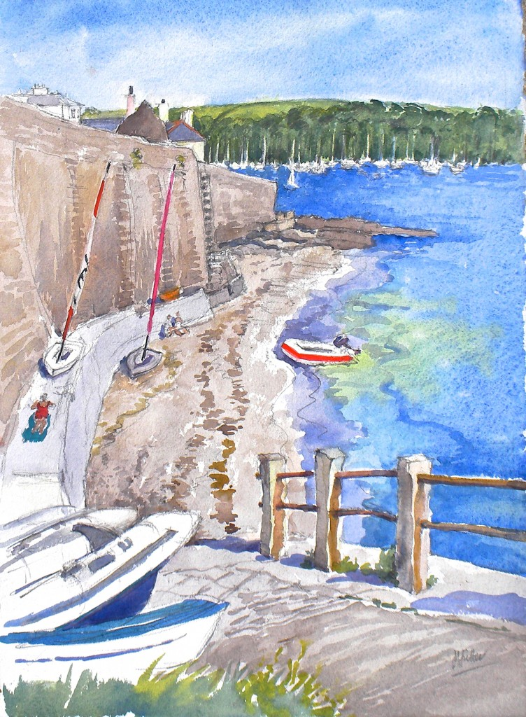 "Tavern Beach with red striped dinghy water colour 15"" x 11"""