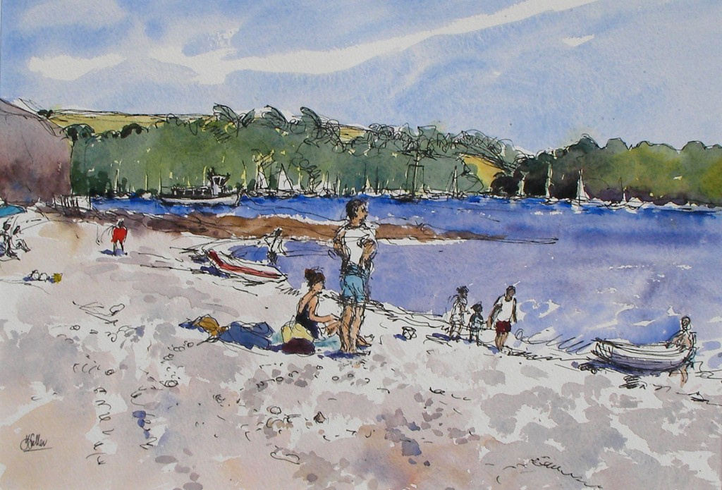 "Tavern Beach, bright day pen and wash 15"" x 22"""
