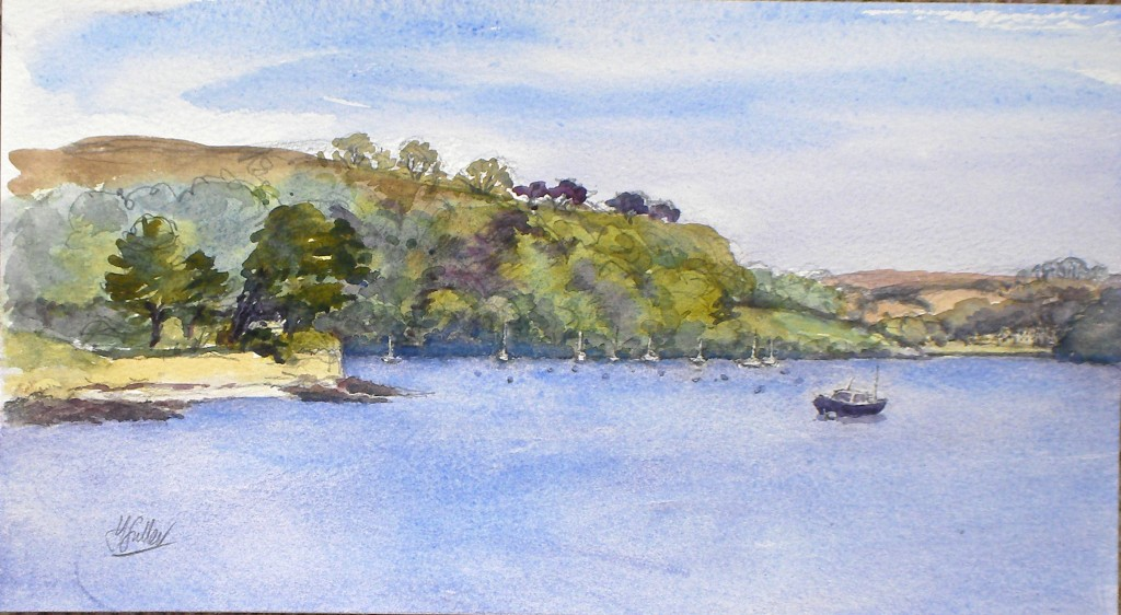 "Place from Polvarth Point St Mawes water colour 6.5"" x 12"""