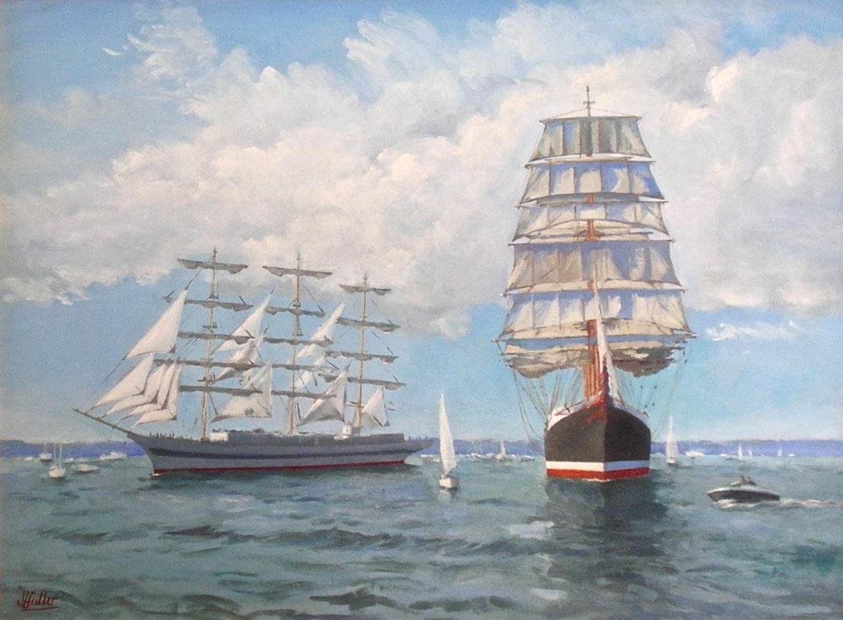 Mir approaching Sedov, Tall Ships' Race, Falmouth 2008 Gift to Marie Curie Cancer Care £1500