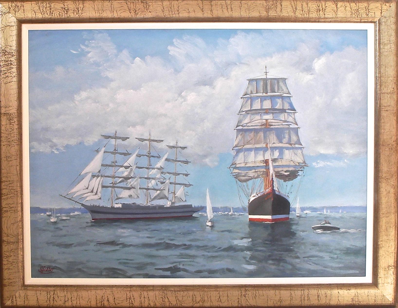 Mir approaching Sedov, Tall Ships' Race, Falmouth 2008