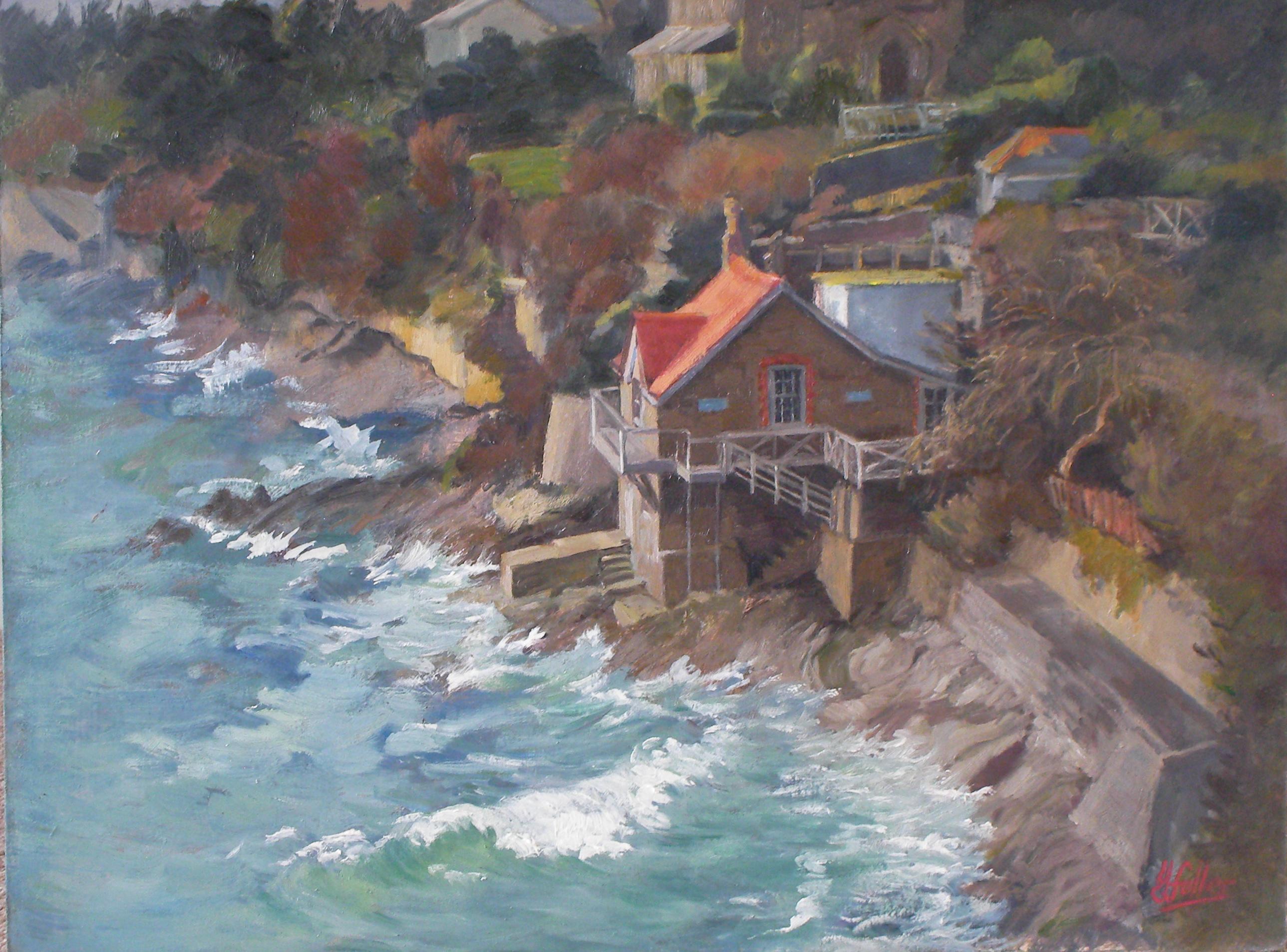The Boathouse, rough sea 2014