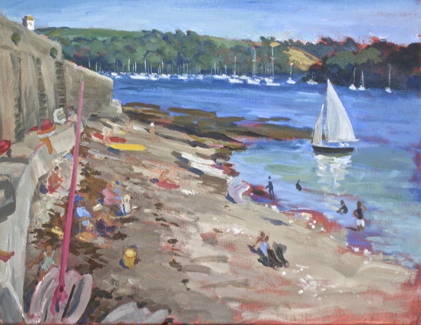 Tavern Beach, white sail